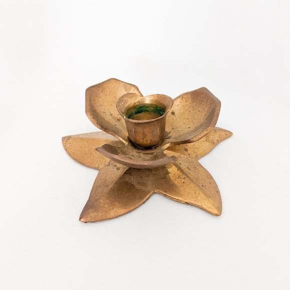 Vintage Brass Lotus Flower Candlestick Holder
